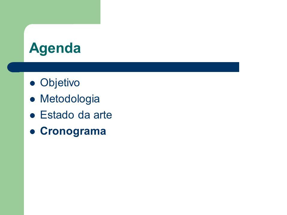 Agenda Objetivo Metodologia Estado da arte Cronograma