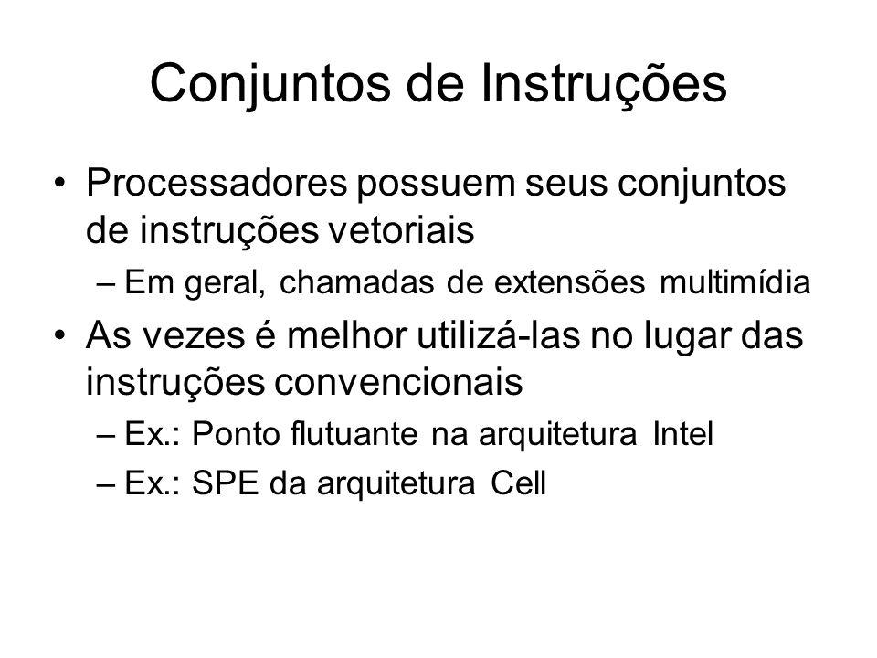 Conjuntos de Instruções Processadores possuem seus conjuntos de instruções vetoriais –Em geral, chamadas de extensões multimídia As vezes é melhor uti