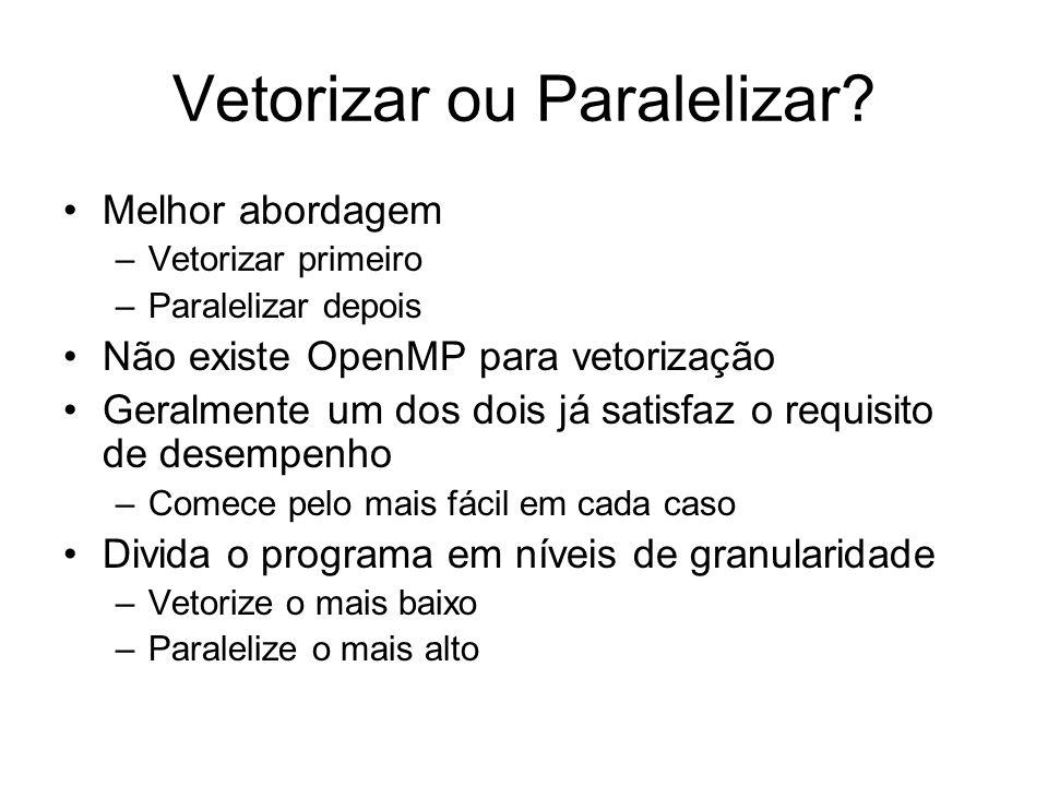 Vetorizar ou Paralelizar? Melhor abordagem –Vetorizar primeiro –Paralelizar depois Não existe OpenMP para vetorização Geralmente um dos dois já satisf