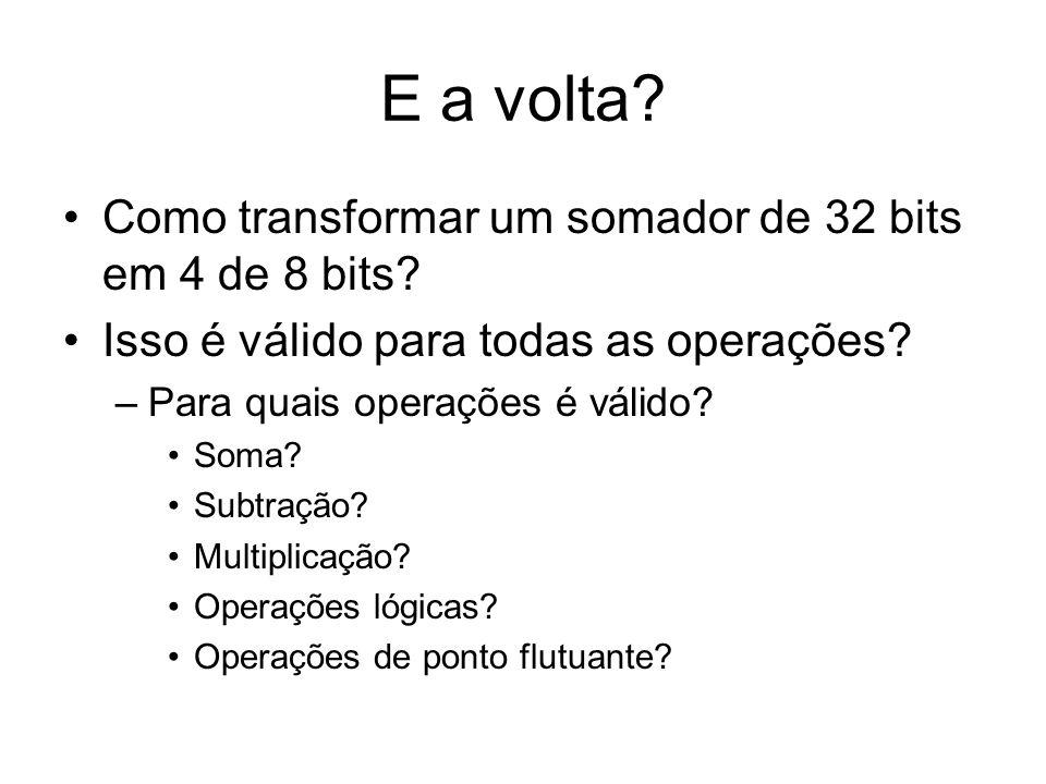 E a volta? Como transformar um somador de 32 bits em 4 de 8 bits? Isso é válido para todas as operações? –Para quais operações é válido? Soma? Subtraç