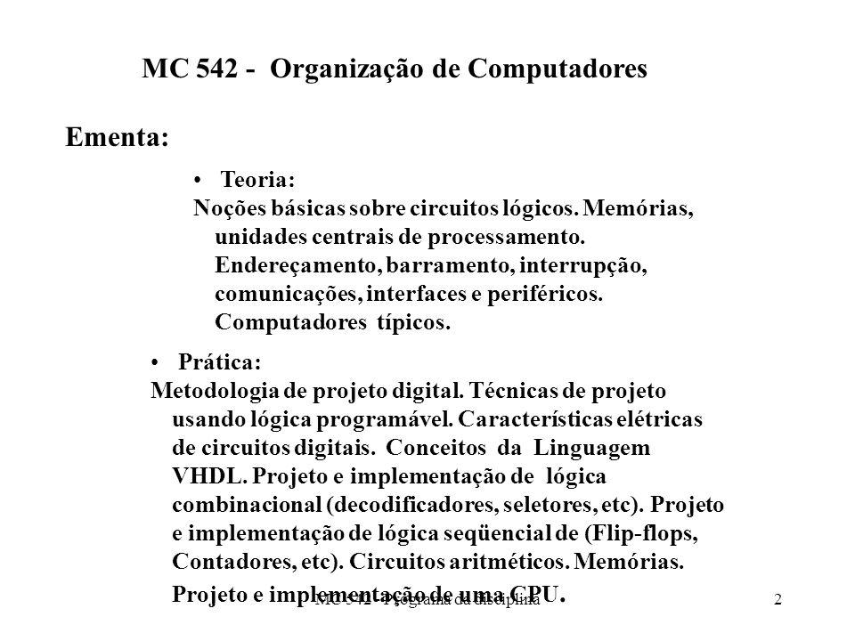 MC 542 - Programa da disciplina2 MC 542 - Organização de Computadores Ementa: Teoria: Noções básicas sobre circuitos lógicos. Memórias, unidades centr