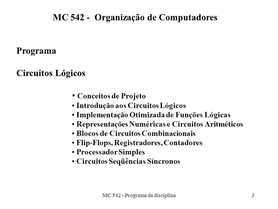 MC 542 - Programa da disciplina3 MC 542 - Organização de Computadores Programa Circuitos Lógicos Conceitos de Projeto Introdução aos Circuitos Lógicos Implementação Otimizada de Funções Lógicas Representações Numéricas e Circuitos Aritméticos Blocos de Circuitos Combinacionais Flip-Flops, Registradores, Contadores Processador Simples Circuitos Seqüências Síncronos