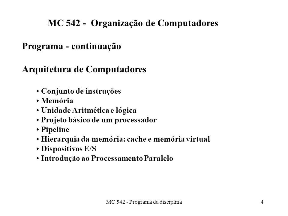 MC 542 - Programa da disciplina4 MC 542 - Organização de Computadores Programa - continuação Arquitetura de Computadores Conjunto de instruções Memória Unidade Aritmética e lógica Projeto básico de um processador Pipeline Hierarquia da memória: cache e memória virtual Dispositivos E/S Introdução ao Processamento Paralelo