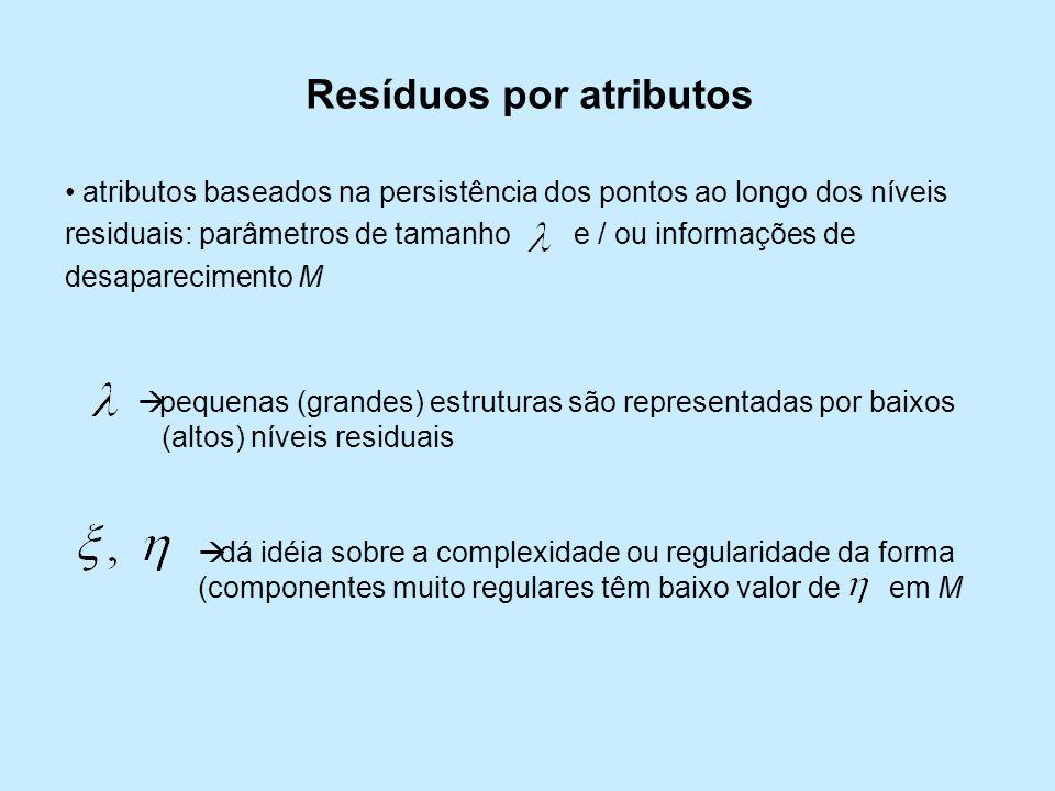 Resíduos por atributos atributos baseados na persistência dos pontos ao longo dos níveis residuais: parâmetros de tamanho e / ou informações de desapa
