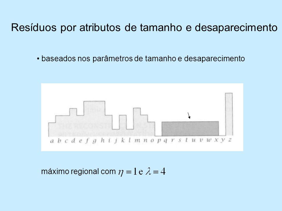 Resíduos por atributos de tamanho e desaparecimento baseados nos parâmetros de tamanho e desaparecimento máximo regional com
