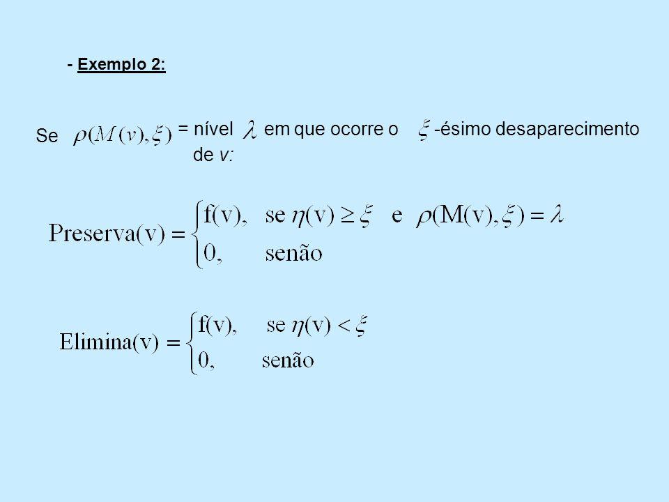 - Exemplo 2: Se = nível em que ocorre o -ésimo desaparecimento de v: