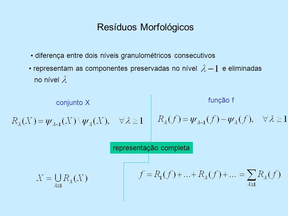 Resíduos Morfológicos diferença entre dois níveis granulométricos consecutivos conjunto X função f representam as componentes preservadas no nívele el