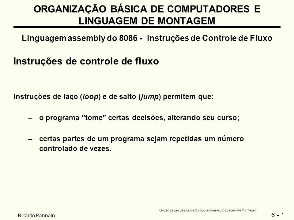 6 - 12 Organização Básica de Computadores e Linguagem de Montagem Ricardo Pannain ORGANIZAÇÃO BÁSICA DE COMPUTADORES E LINGUAGEM DE MONTAGEM Linguagem assembly do 8086 - Instruções de Controle de Fluxo Exemplo: Supondo que AX e BX contenham números sinalizados, escreva um trecho de programa que coloque o maior deles em CX....