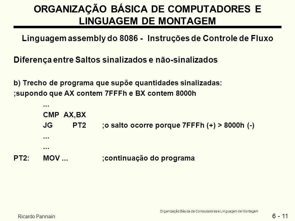 6 - 11 Organização Básica de Computadores e Linguagem de Montagem Ricardo Pannain ORGANIZAÇÃO BÁSICA DE COMPUTADORES E LINGUAGEM DE MONTAGEM Linguagem