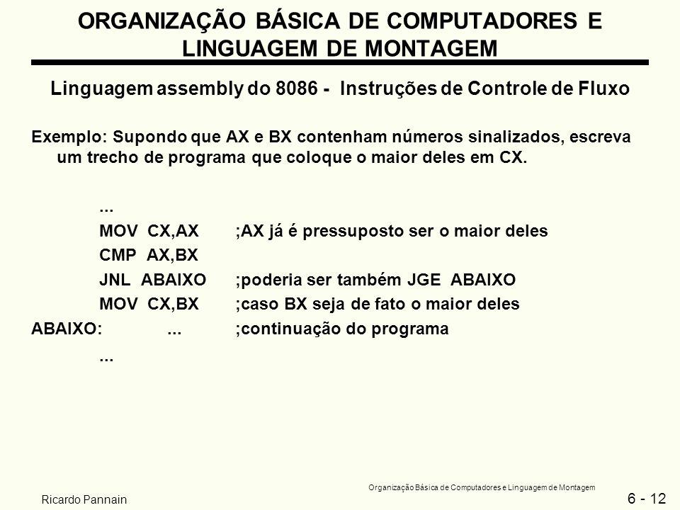 6 - 12 Organização Básica de Computadores e Linguagem de Montagem Ricardo Pannain ORGANIZAÇÃO BÁSICA DE COMPUTADORES E LINGUAGEM DE MONTAGEM Linguagem