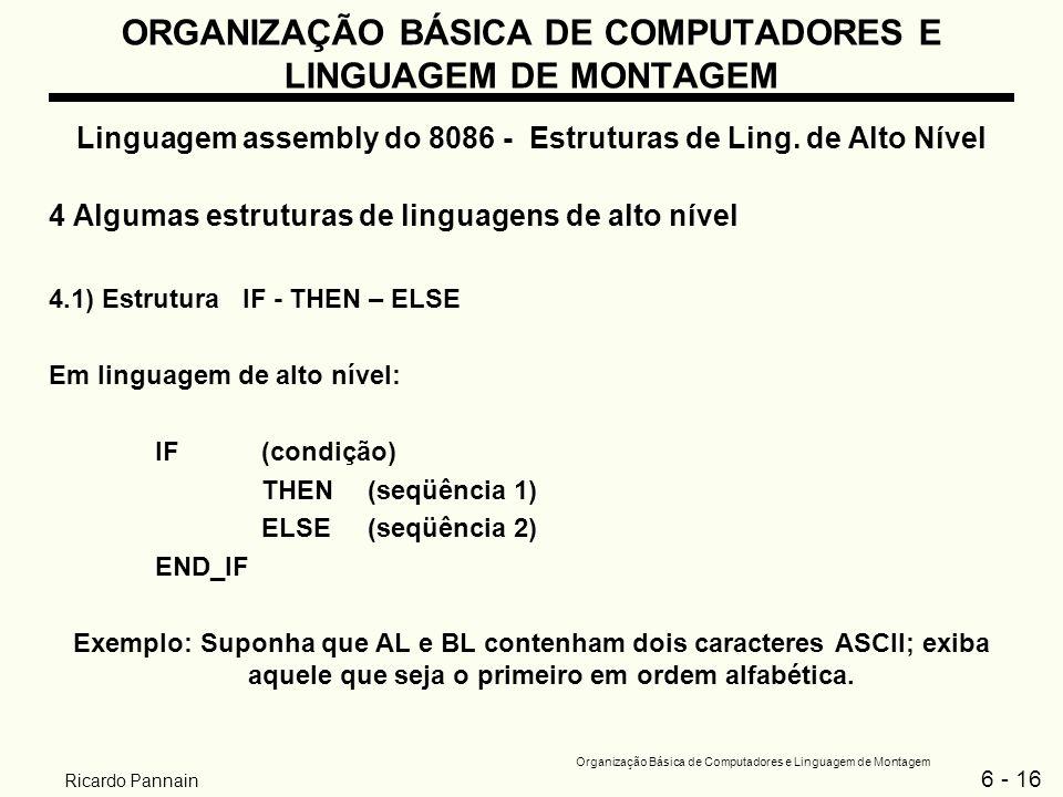 6 - 16 Organização Básica de Computadores e Linguagem de Montagem Ricardo Pannain ORGANIZAÇÃO BÁSICA DE COMPUTADORES E LINGUAGEM DE MONTAGEM Linguagem