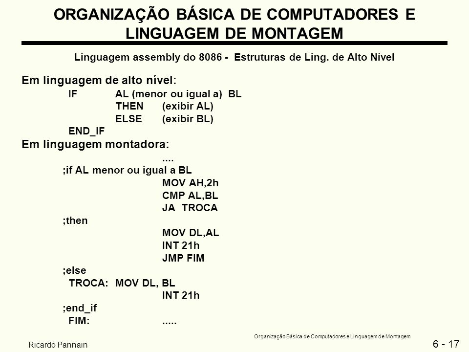 6 - 17 Organização Básica de Computadores e Linguagem de Montagem Ricardo Pannain ORGANIZAÇÃO BÁSICA DE COMPUTADORES E LINGUAGEM DE MONTAGEM Linguagem