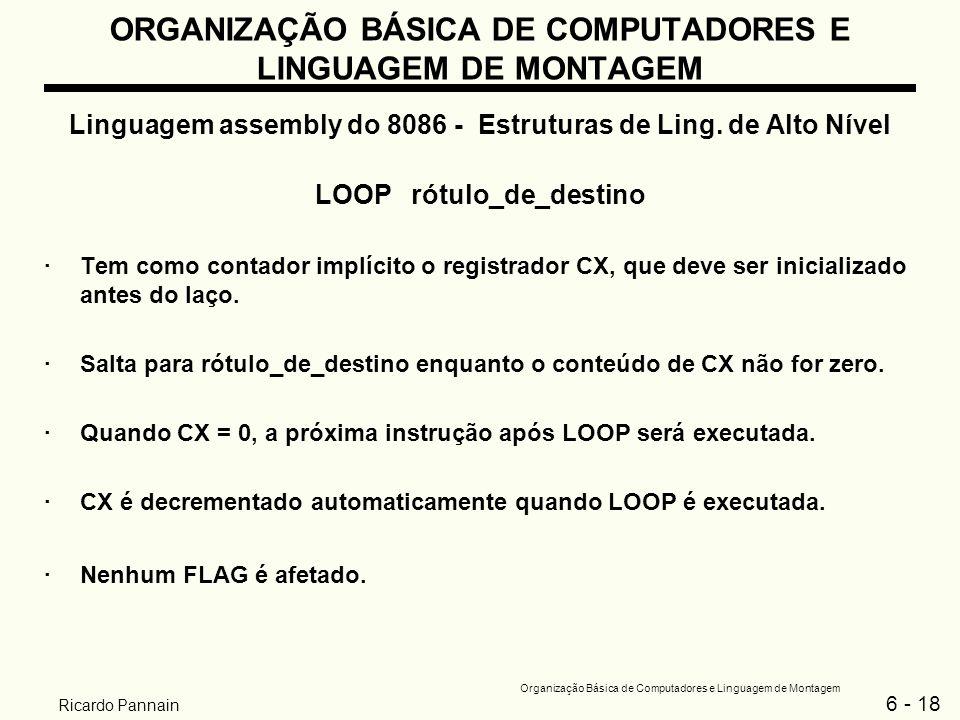 6 - 18 Organização Básica de Computadores e Linguagem de Montagem Ricardo Pannain ORGANIZAÇÃO BÁSICA DE COMPUTADORES E LINGUAGEM DE MONTAGEM Linguagem