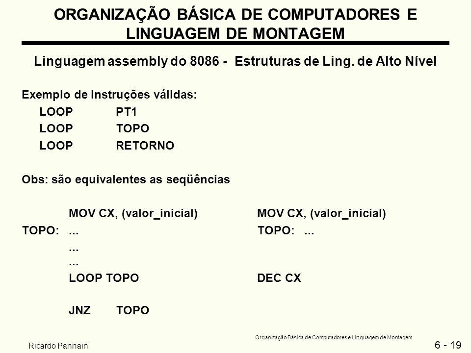 6 - 19 Organização Básica de Computadores e Linguagem de Montagem Ricardo Pannain ORGANIZAÇÃO BÁSICA DE COMPUTADORES E LINGUAGEM DE MONTAGEM Linguagem