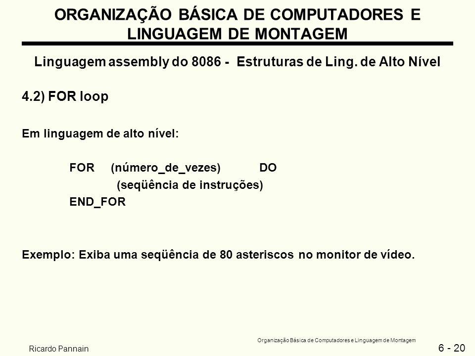 6 - 20 Organização Básica de Computadores e Linguagem de Montagem Ricardo Pannain ORGANIZAÇÃO BÁSICA DE COMPUTADORES E LINGUAGEM DE MONTAGEM Linguagem