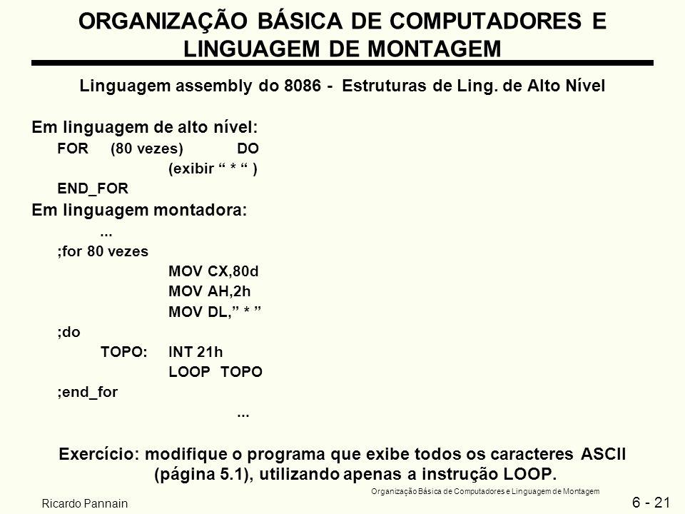 6 - 21 Organização Básica de Computadores e Linguagem de Montagem Ricardo Pannain ORGANIZAÇÃO BÁSICA DE COMPUTADORES E LINGUAGEM DE MONTAGEM Linguagem