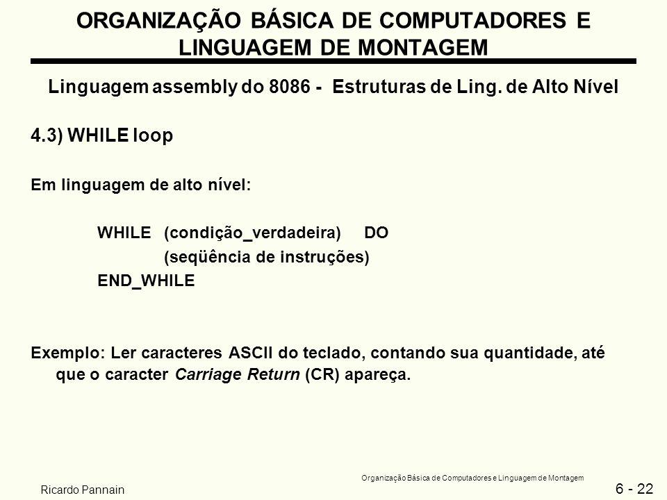 6 - 22 Organização Básica de Computadores e Linguagem de Montagem Ricardo Pannain ORGANIZAÇÃO BÁSICA DE COMPUTADORES E LINGUAGEM DE MONTAGEM Linguagem