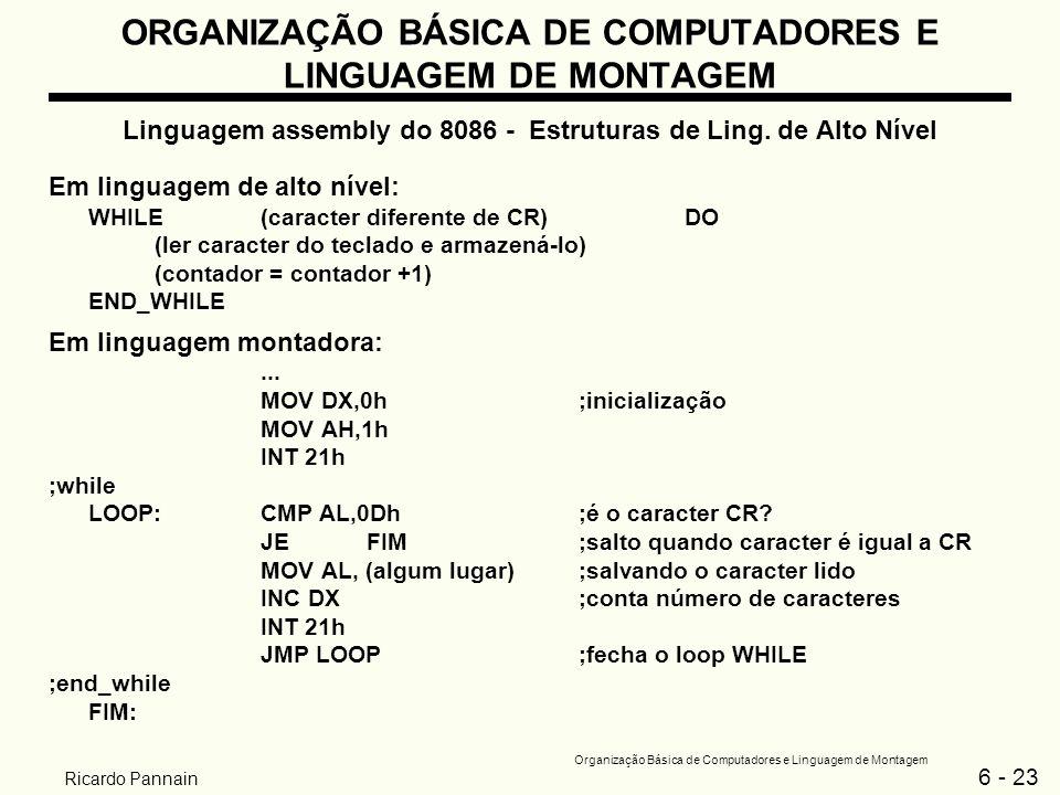 6 - 23 Organização Básica de Computadores e Linguagem de Montagem Ricardo Pannain ORGANIZAÇÃO BÁSICA DE COMPUTADORES E LINGUAGEM DE MONTAGEM Linguagem
