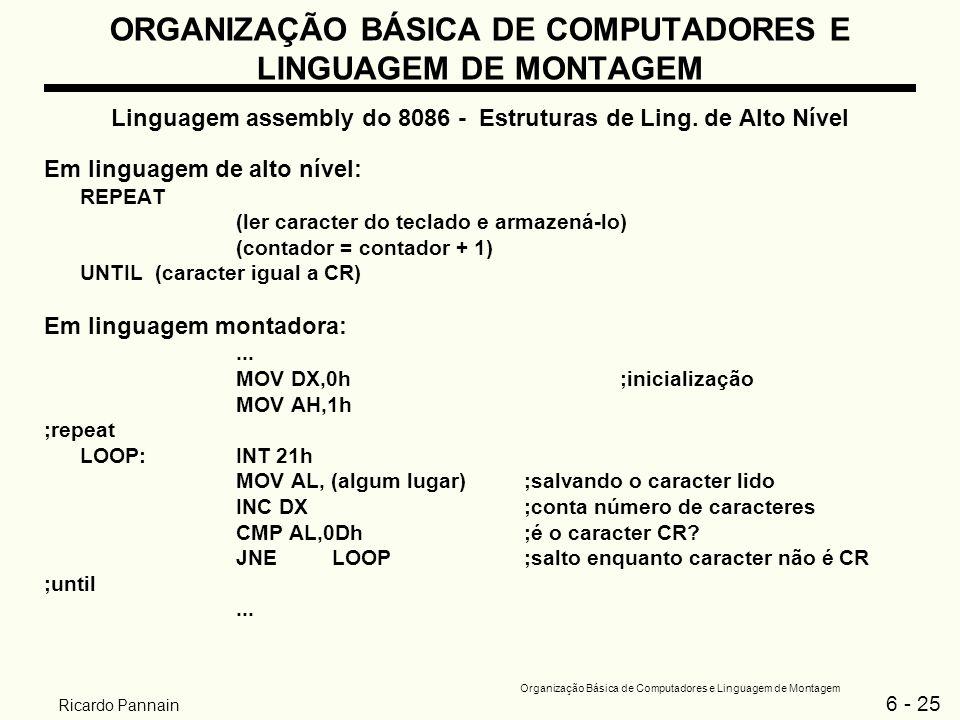 6 - 25 Organização Básica de Computadores e Linguagem de Montagem Ricardo Pannain ORGANIZAÇÃO BÁSICA DE COMPUTADORES E LINGUAGEM DE MONTAGEM Linguagem