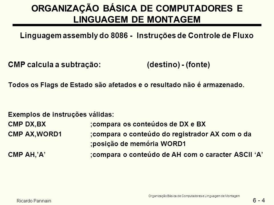 6 - 5 Organização Básica de Computadores e Linguagem de Montagem Ricardo Pannain ORGANIZAÇÃO BÁSICA DE COMPUTADORES E LINGUAGEM DE MONTAGEM Linguagem assembly do 8086 - Instruções de Controle de Fluxo 2 Saltos condicionais JXXX rótulo_de_destino XXX é uma condição dependente de algum dos Flags de Estado Se a condição XXX é verdadeira: - a próxima instrução a ser executada é aquela definida pelo rótulo_de_destino; - a CPU ajusta o registrador IP para apontar para a posição de memória dada por rótulo_de_destino.