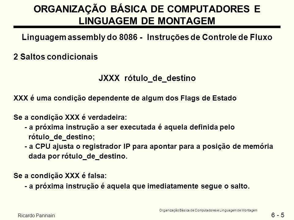 6 - 6 Organização Básica de Computadores e Linguagem de Montagem Ricardo Pannain ORGANIZAÇÃO BÁSICA DE COMPUTADORES E LINGUAGEM DE MONTAGEM Linguagem assembly do 8086 - Instruções de Controle de Fluxo Faixa de endereçamento do rótulo_de_destino: - deve preceder JXXX não mais do que 126 bytes; - deve suceder JXXX não mais do que 127 bytes.