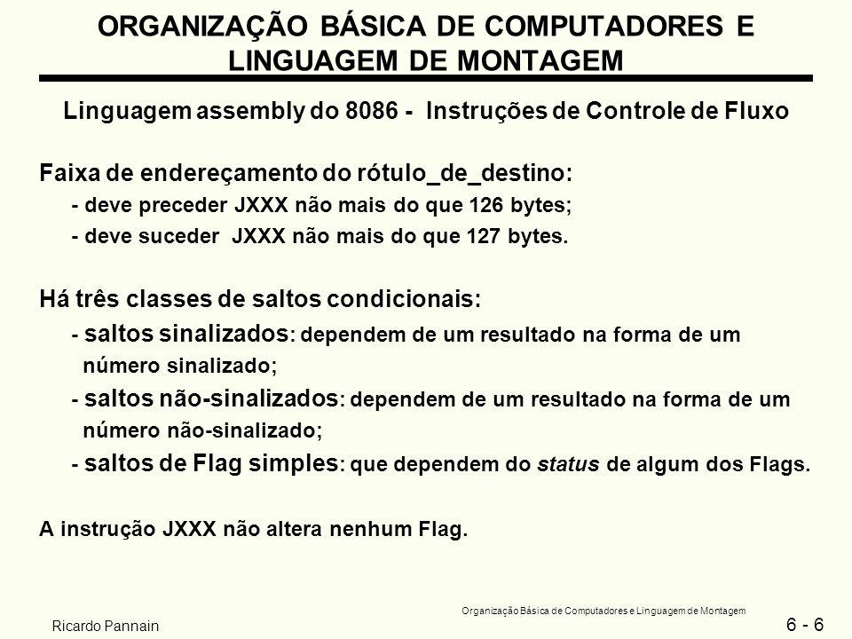 6 - 7 Organização Básica de Computadores e Linguagem de Montagem Ricardo Pannain ORGANIZAÇÃO BÁSICA DE COMPUTADORES E LINGUAGEM DE MONTAGEM Linguagem assembly do 8086 - Instruções de Controle de Fluxo Tipos de saltos condicionais