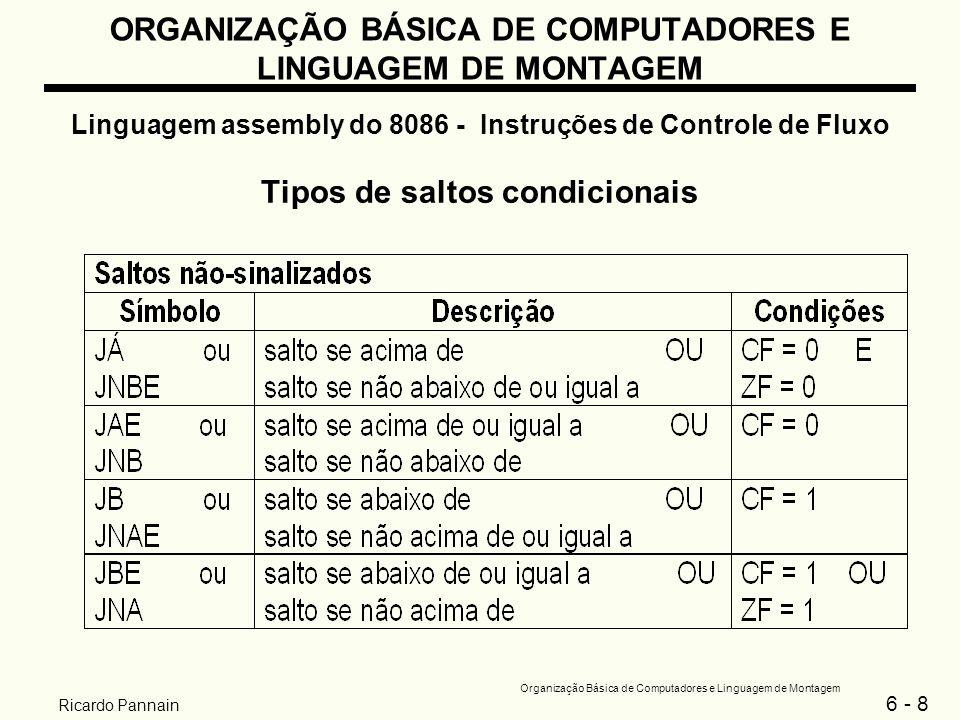 6 - 9 Organização Básica de Computadores e Linguagem de Montagem Ricardo Pannain ORGANIZAÇÃO BÁSICA DE COMPUTADORES E LINGUAGEM DE MONTAGEM Linguagem assembly do 8086 - Instruções de Controle de Fluxo Tipos de saltos condicionais