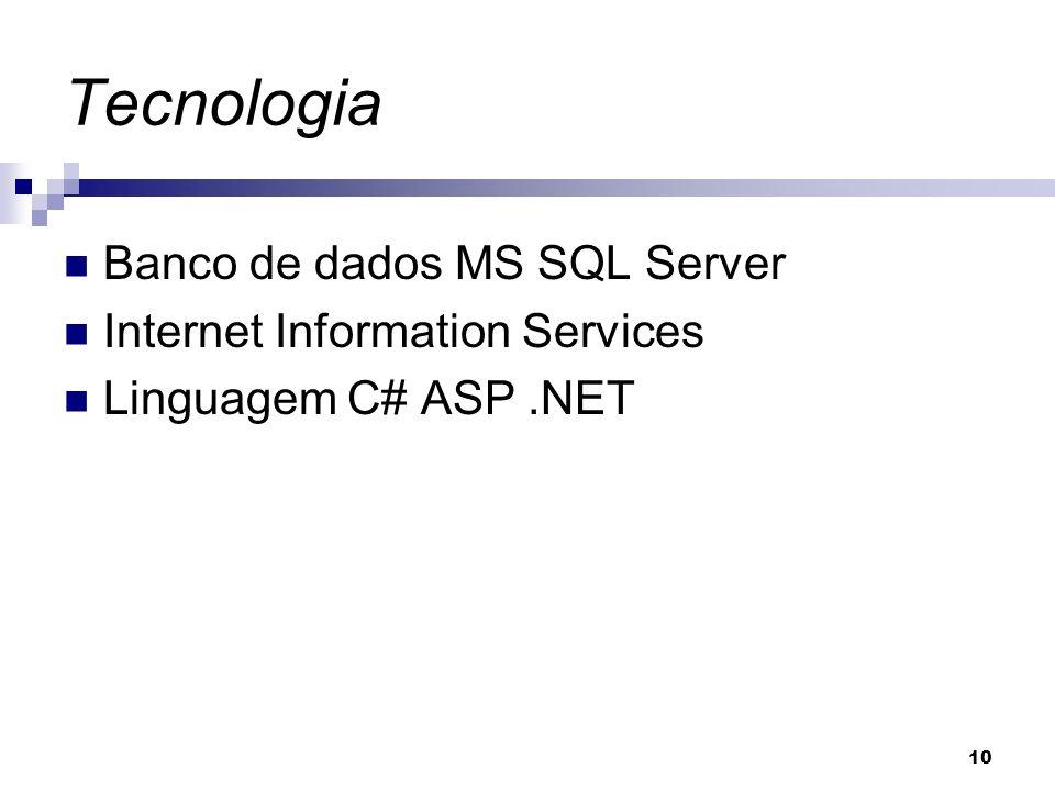 10 Tecnologia Banco de dados MS SQL Server Internet Information Services Linguagem C# ASP.NET