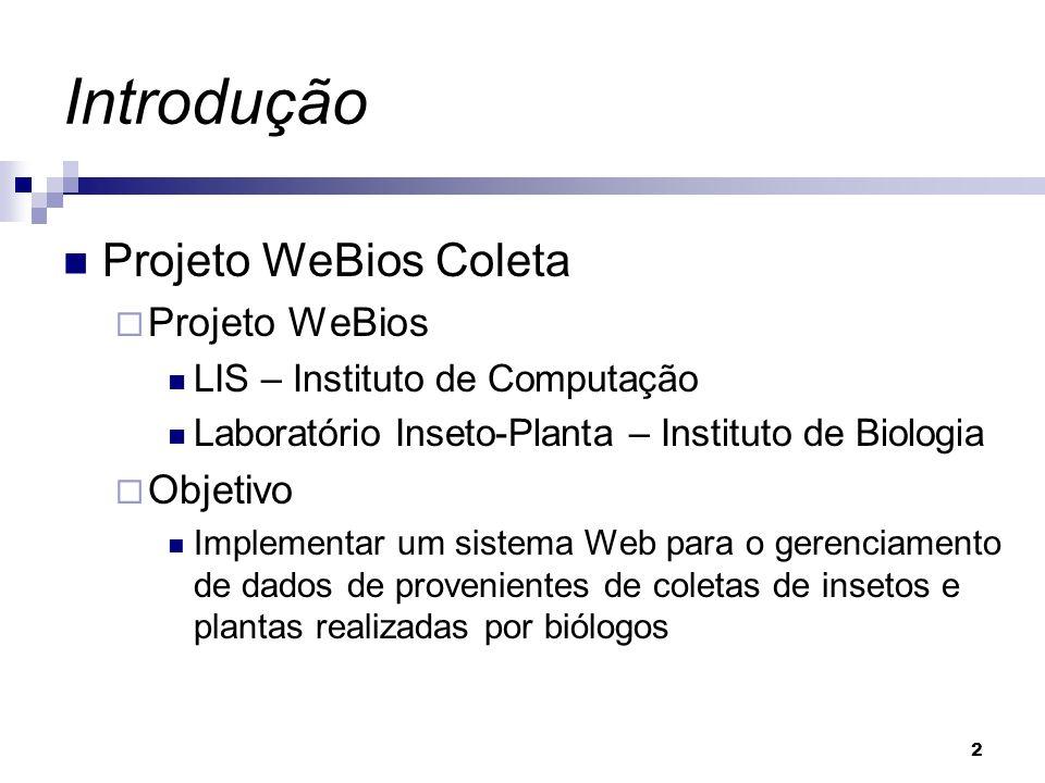 2 Introdução Projeto WeBios Coleta Projeto WeBios LIS – Instituto de Computação Laboratório Inseto-Planta – Instituto de Biologia Objetivo Implementar
