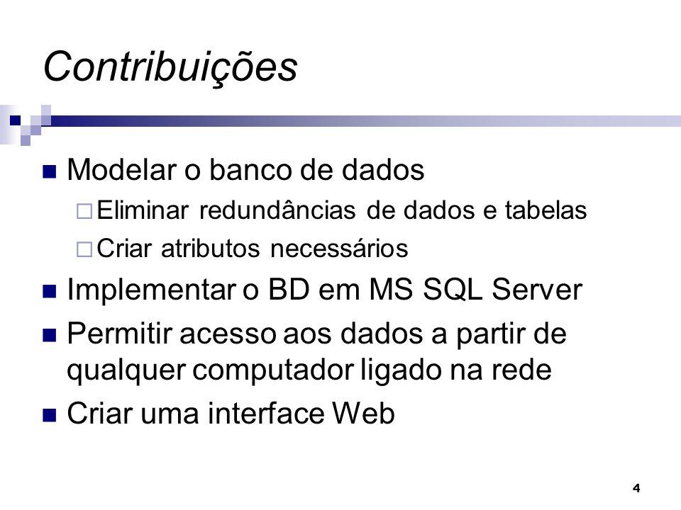 4 Contribuições Modelar o banco de dados Eliminar redundâncias de dados e tabelas Criar atributos necessários Implementar o BD em MS SQL Server Permit