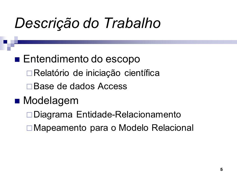 5 Descrição do Trabalho Entendimento do escopo Relatório de iniciação científica Base de dados Access Modelagem Diagrama Entidade-Relacionamento Mapea