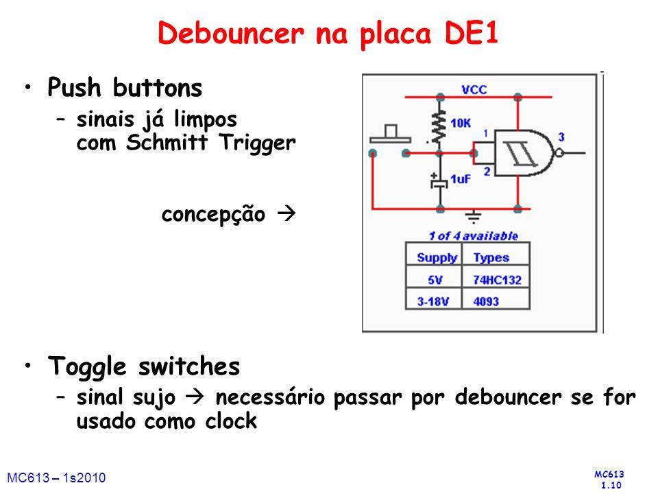 MC613 1.10 MC613 – 1s2010 Debouncer na placa DE1 Push buttons –sinais já limpos com Schmitt Trigger concepção Toggle switches –sinal sujo necessário p