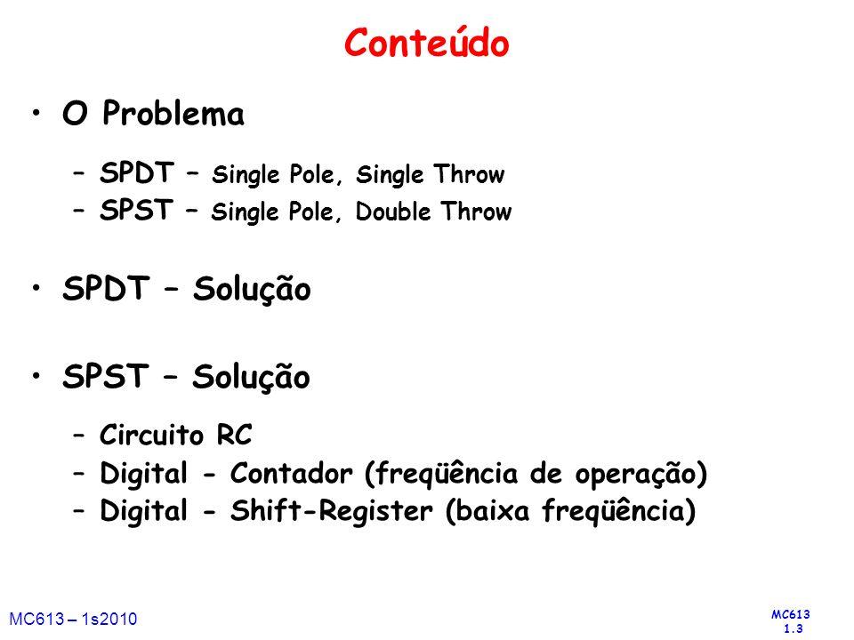 MC613 1.3 MC613 – 1s2010 Conteúdo O Problema –SPDT – Single Pole, Single Throw –SPST – Single Pole, Double Throw SPDT – Solução SPST – Solução –Circui