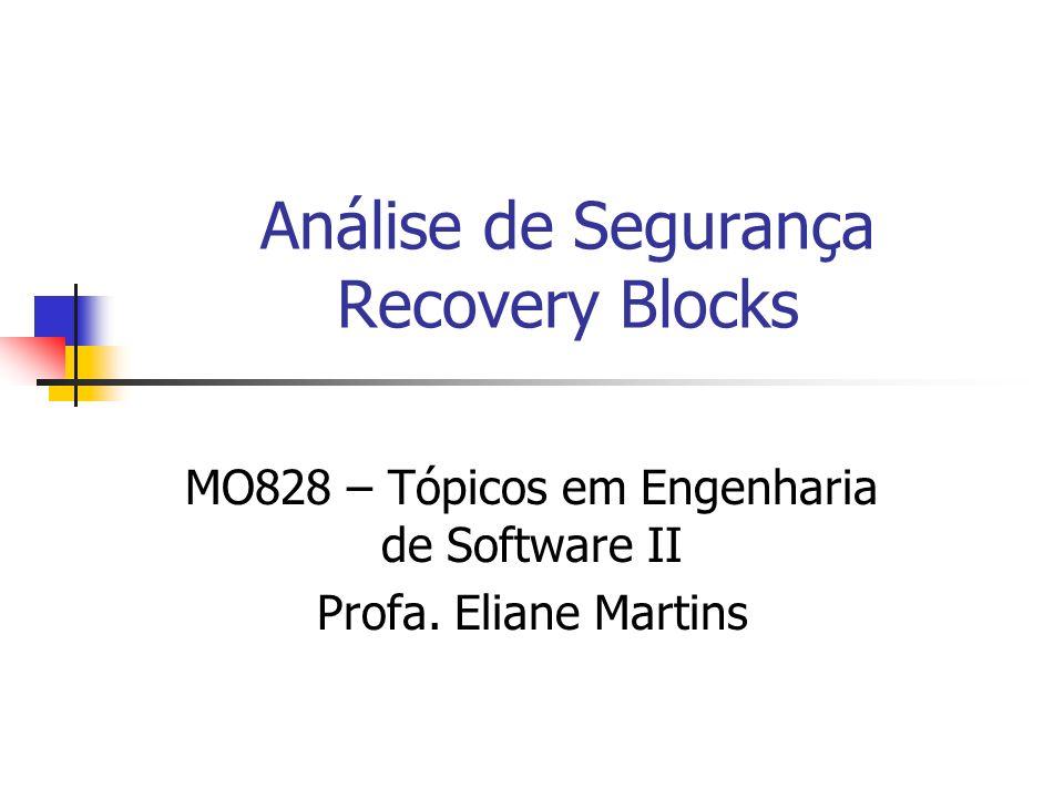 Análise de Segurança Recovery Blocks MO828 – Tópicos em Engenharia de Software II Profa. Eliane Martins