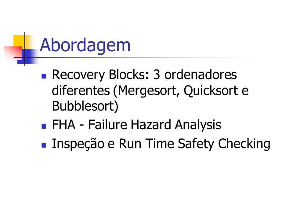 Abordagem Recovery Blocks: 3 ordenadores diferentes (Mergesort, Quicksort e Bubblesort) FHA - Failure Hazard Analysis Inspeção e Run Time Safety Check