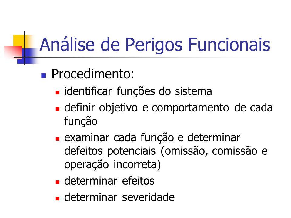 Análise de Perigos Funcionais Procedimento: identificar funções do sistema definir objetivo e comportamento de cada função examinar cada função e dete