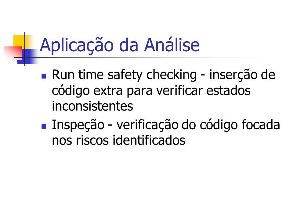 Aplicação da Análise Run time safety checking - inserção de código extra para verificar estados inconsistentes Inspeção - verificação do código focada
