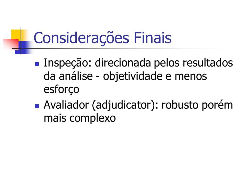 Considerações Finais Inspeção: direcionada pelos resultados da análise - objetividade e menos esforço Avaliador (adjudicator): robusto porém mais comp