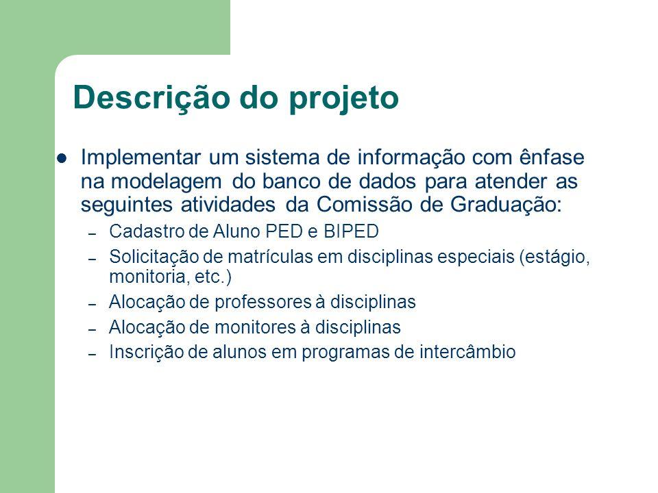 Descrição do projeto Implementar um sistema de informação com ênfase na modelagem do banco de dados para atender as seguintes atividades da Comissão d