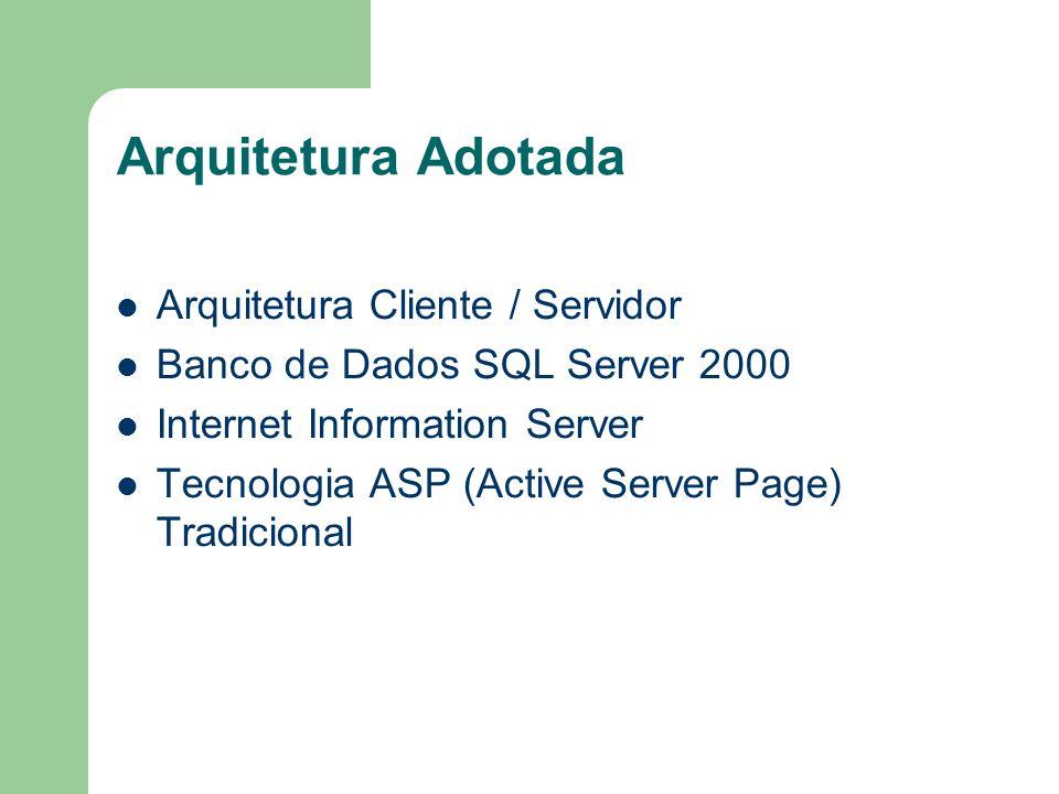 Arquitetura Adotada Arquitetura Cliente / Servidor Banco de Dados SQL Server 2000 Internet Information Server Tecnologia ASP (Active Server Page) Trad