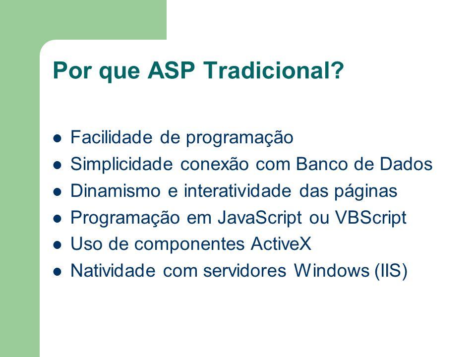 Por que ASP Tradicional? Facilidade de programação Simplicidade conexão com Banco de Dados Dinamismo e interatividade das páginas Programação em JavaS