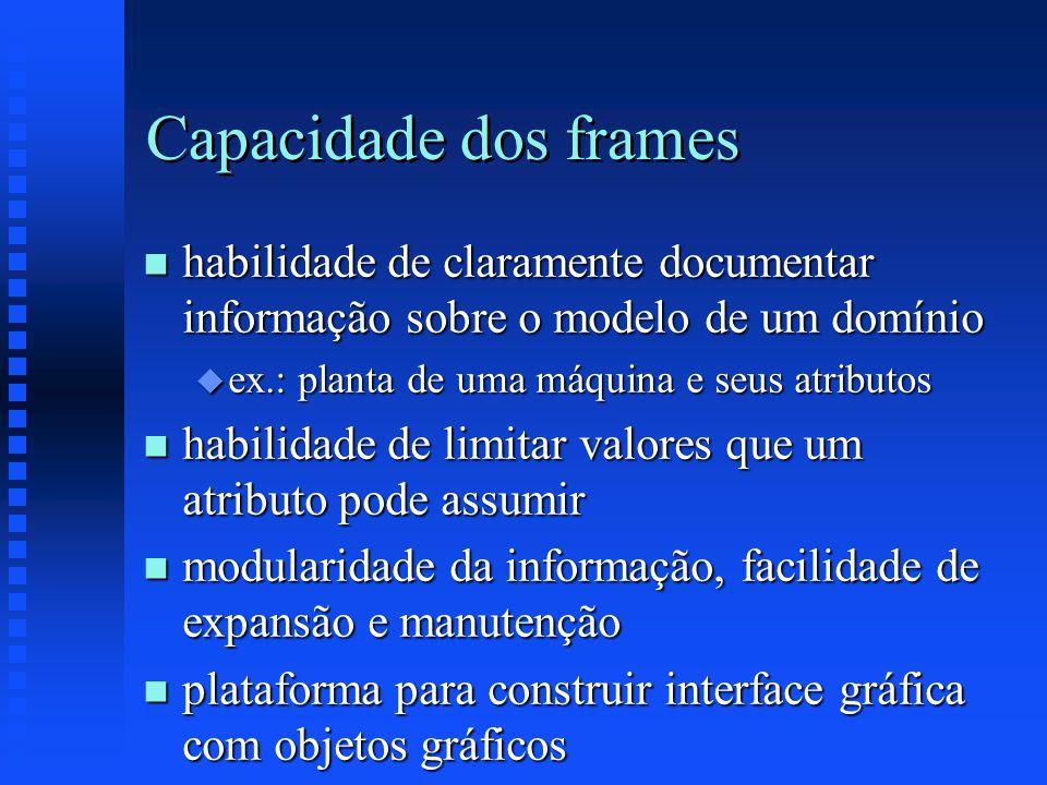 Capacidade dos frames n habilidade de claramente documentar informação sobre o modelo de um domínio u ex.: planta de uma máquina e seus atributos n ha