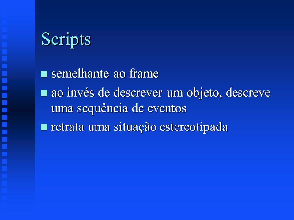 Scripts n semelhante ao frame n ao invés de descrever um objeto, descreve uma sequência de eventos n retrata uma situação estereotipada