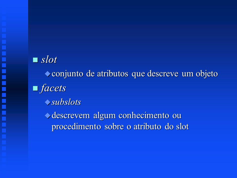 n slot u conjunto de atributos que descreve um objeto n facets u subslots u descrevem algum conhecimento ou procedimento sobre o atributo do slot