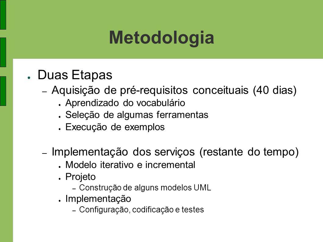 Metodologia Duas Etapas – Aquisição de pré-requisitos conceituais (40 dias) Aprendizado do vocabulário Seleção de algumas ferramentas Execução de exem