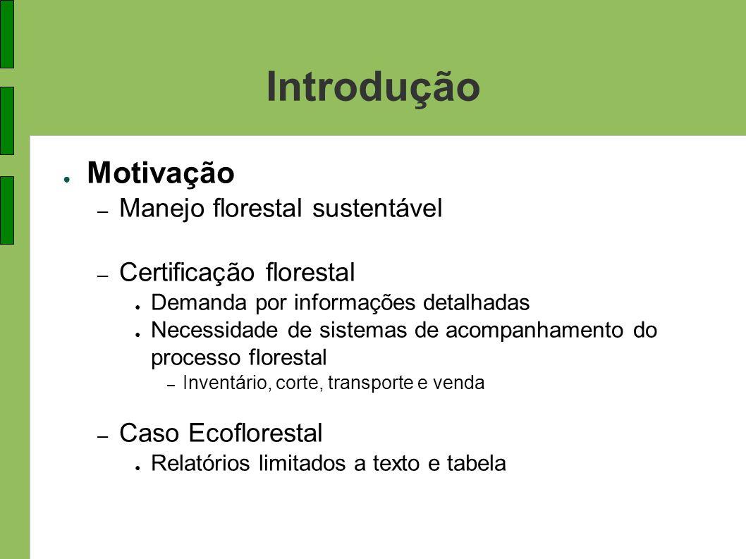 Introdução Motivação – Manejo florestal sustentável – Certificação florestal Demanda por informações detalhadas Necessidade de sistemas de acompanhame