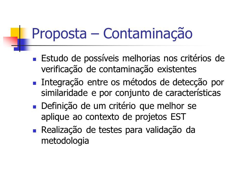 Proposta – Contaminação Estudo de possíveis melhorias nos critérios de verificação de contaminação existentes Integração entre os métodos de detecção