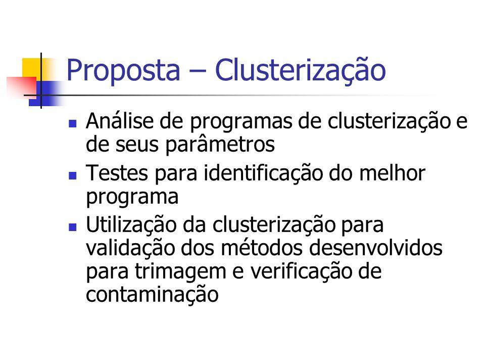Proposta – Clusterização Análise de programas de clusterização e de seus parâmetros Testes para identificação do melhor programa Utilização da cluster