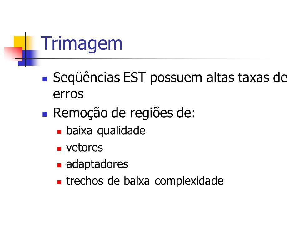 Trimagem Seqüências EST possuem altas taxas de erros Remoção de regiões de: baixa qualidade vetores adaptadores trechos de baixa complexidade