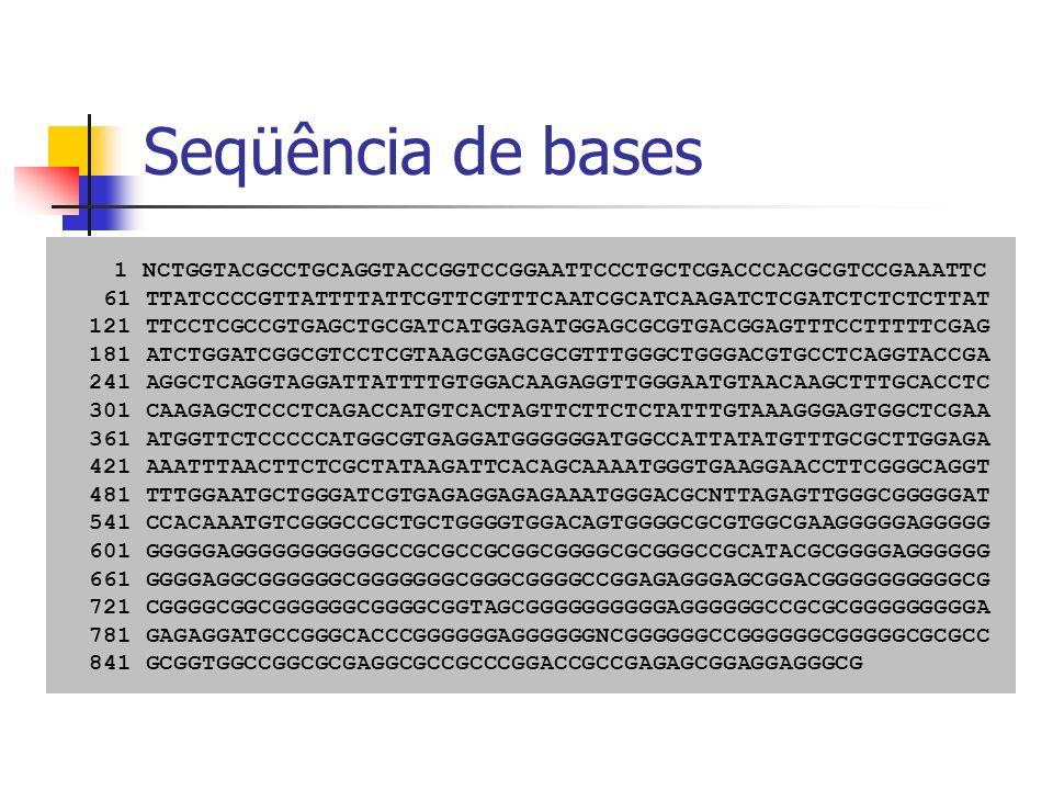 Clusterização Necessária para eliminação de redundância e identificação de genes Exemplo: 1 CTGCTTTAAGGGTCGTTAATTGACGACTCTTGATATTTACTTAGTTTGAGTT 2 GAGCACTGCTTTAAGGGTCGTTAATTGACGACTCTTGATATTTACTAAGTTT 3 GAAAAGGATCTTTCTGATTCTCGAAGAATGAGGGGCAAGGGGATTGATCGA 4 TTGTGCAAGTAGCTTTGGTAATTCTTCTCAGTACAACCGACCCACCGTTTCAAATC 5 CGTTAATTGACGACTCTGATATTTACTAAGTTTGAGTTATGGACGA 6 CTGCTTTAAGGGTCGTTAATTGACGACTCTTGATATTTACTAAGTTTGAGTTATG 7 CAAGTAGCTTTGGTAATCTTCTCAGTACAACCGACCCACCGTTTCAATCTTTGTA 8 TTAAGGGTCGTTAATTGACGACTCTTGATATTTACTAAGTTTGAGTTATGGA